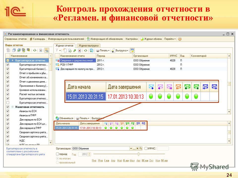 Контроль прохождения отчетности в «Регламен. и финансовой отчетности» 24