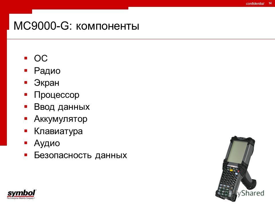 confidential 14 MC9000-G: компоненты ОС Радио Экран Процессор Ввод данных Аккумулятор Клавиатура Аудио Безопасность данных