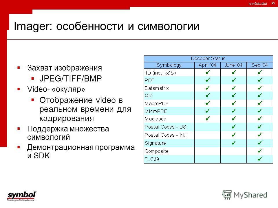 confidential 23 Imager: особенности и символогии Захват изображения JPEG/TIFF/BMP Video- «окуляр» Отображение video в реальном времени для кадрирования Поддержка множества символогий Демонтрационная программа и SDK
