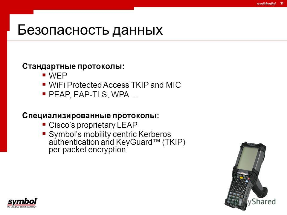 confidential 31 Стандартные протоколы: WEP WiFi Protected Access TKIP and MIC PEAP, EAP-TLS, WPA … Специализированные протоколы: Ciscos proprietary LEAP Symbols mobility centric Kerberos authentication and KeyGuard (TKIP) per packet encryption Безопа