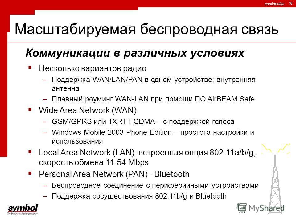 confidential 35 Масштабируемая беспроводная связь Несколько вариантов радио –Поддержка WAN/LAN/PAN в одном устройстве; внутренняя антенна –Плавный роуминг WAN-LAN при помощи ПО AirBEAM Safe Wide Area Network (WAN) –GSM/GPRS или 1XRTT CDMA – с поддерж