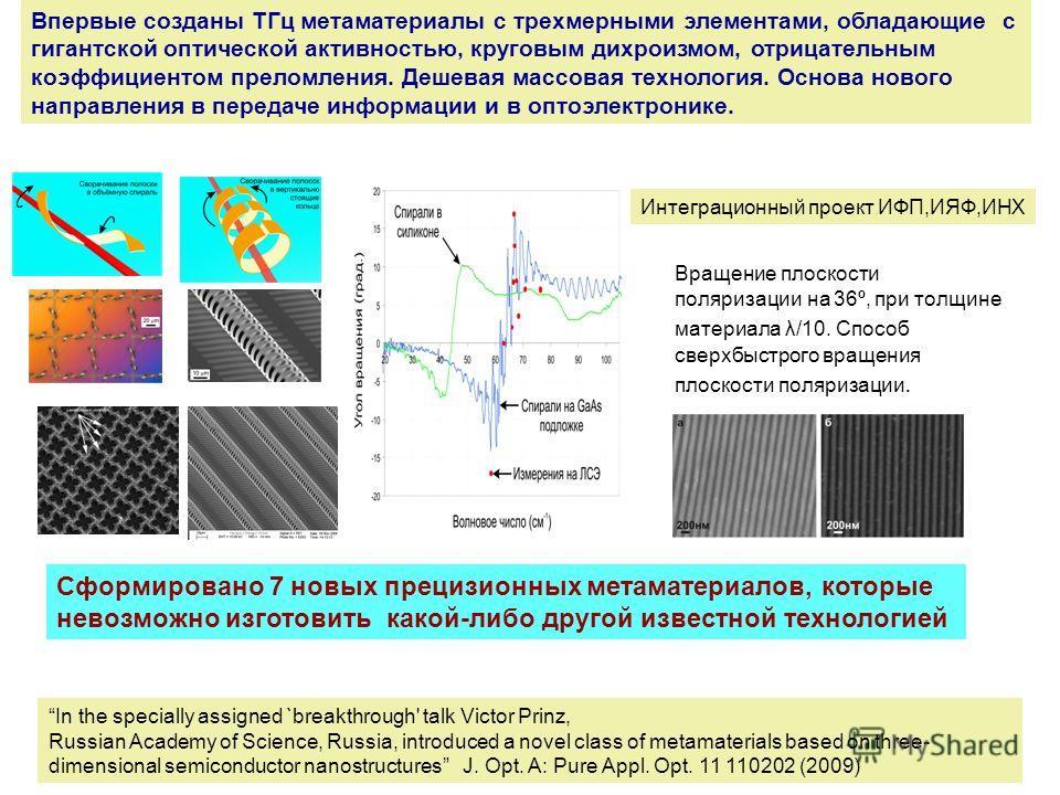 Впервые созданы TГц метаматериалы с трехмерными элементами, обладающие с гигантской оптической активностью, круговым дихроизмом, отрицательным коэффициентом преломления. Дешевая массовая технология. Основа нового направления в передаче информации и в