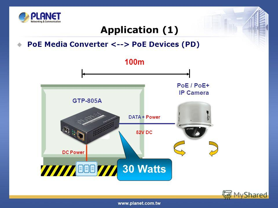 Application (1) PoE Media Converter PoE Devices (PD) DC Power 30 Watts DATA + Power 52V DC 100m PoE / PoE+ IP Camera GTP-805A