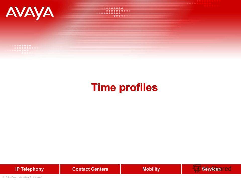 © 2006 Avaya Inc. All rights reserved. Time profiles