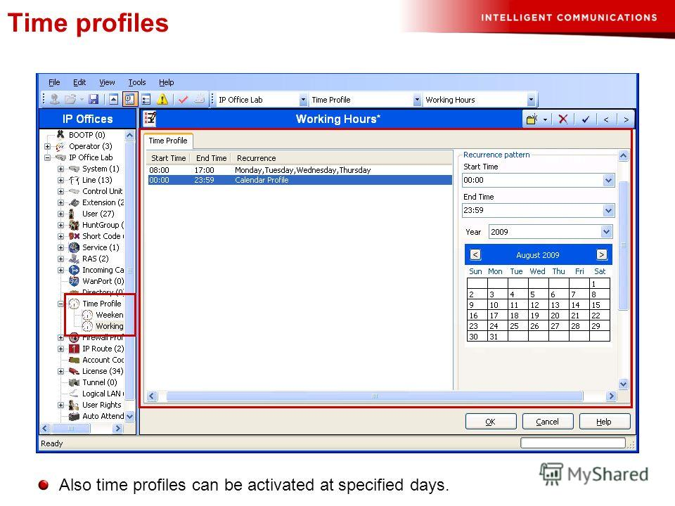 Time profiles Also time profiles can be activated at specified days.