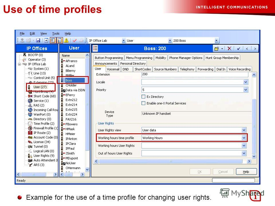 Use of time profiles Example for the use of a time profile for changing user rights.