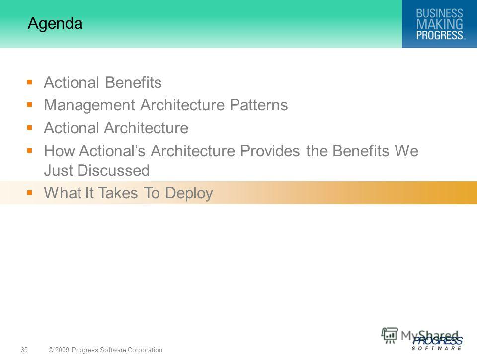 © 2009 Progress Software Corporation35 Agenda Actional Benefits Management Architecture Patterns Actional Architecture How Actionals Architecture Provides the Benefits We Just Discussed What It Takes To Deploy