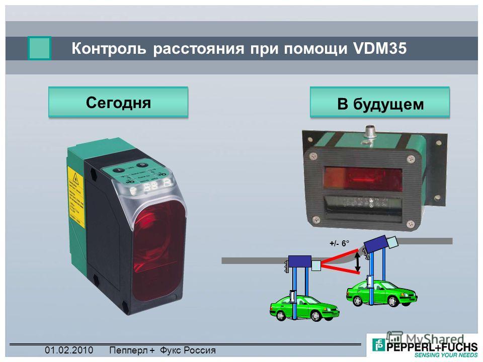 Контроль расстояния при помощи VDM35 Сегодня +/- 6° В будущем 01.02.2010Пепперл + Фукс Россия