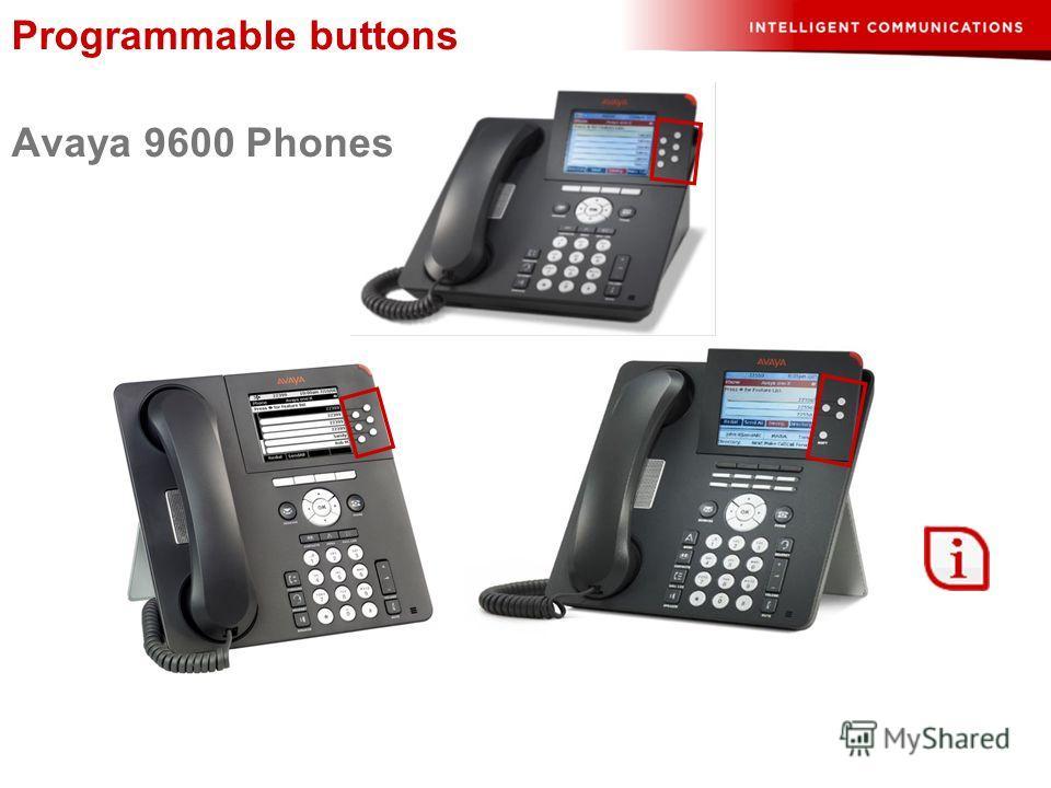 Programmable buttons Avaya 9600 Phones