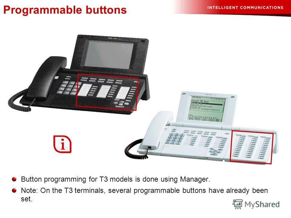 Programmable buttons Button programming for T3 models is done using Manager. Note: On the T3 terminals, several programmable buttons have already been set.