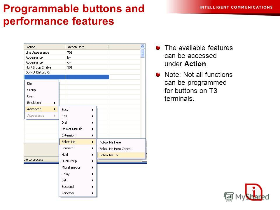Programmable buttons and performance features The available features can be accessed under Action. Note: Not all functions can be programmed for buttons on T3 terminals.