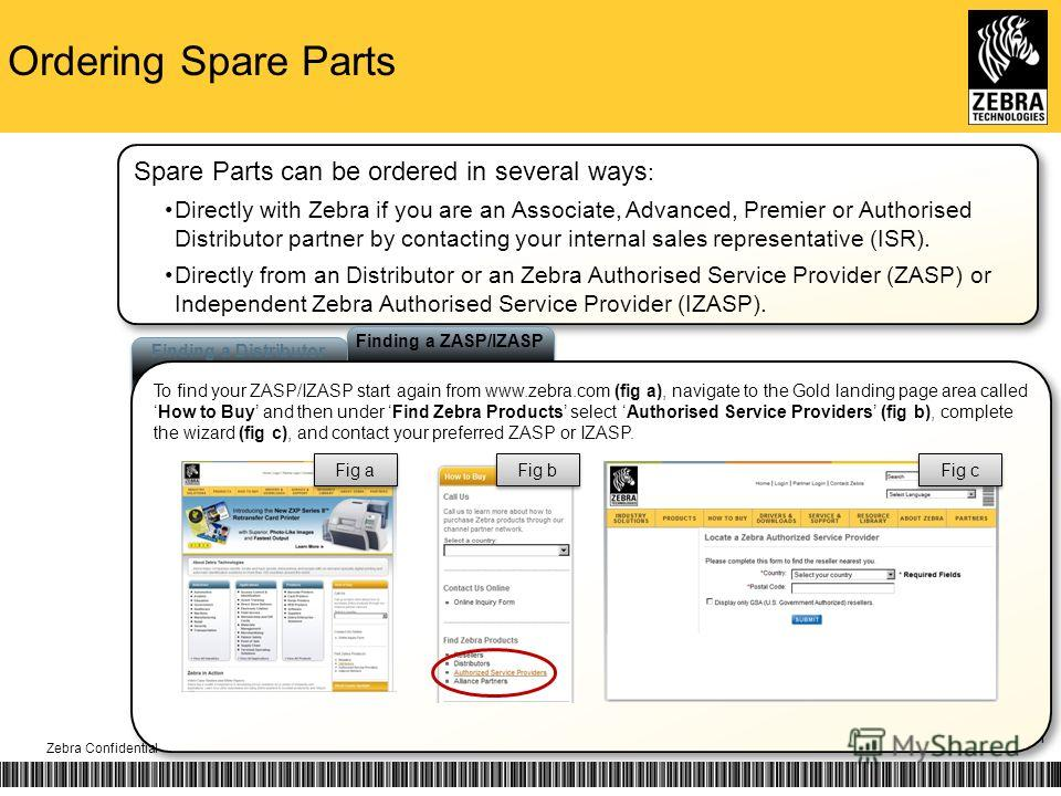 Ordering Spare Parts 11 Finding a ZASP/IZASP Finding a Distributor To find your ZASP/IZASP start again from www.zebra.com (fig a), navigate to the Gold landing page area calledHow to Buy and then under Find Zebra Products select Authorised Service Pr