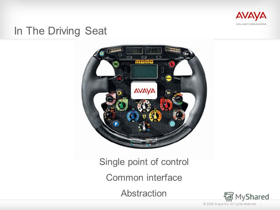 © 2009 Avaya Inc. All rights reserved. In The Driving Seat Single point of control Common interface Abstraction