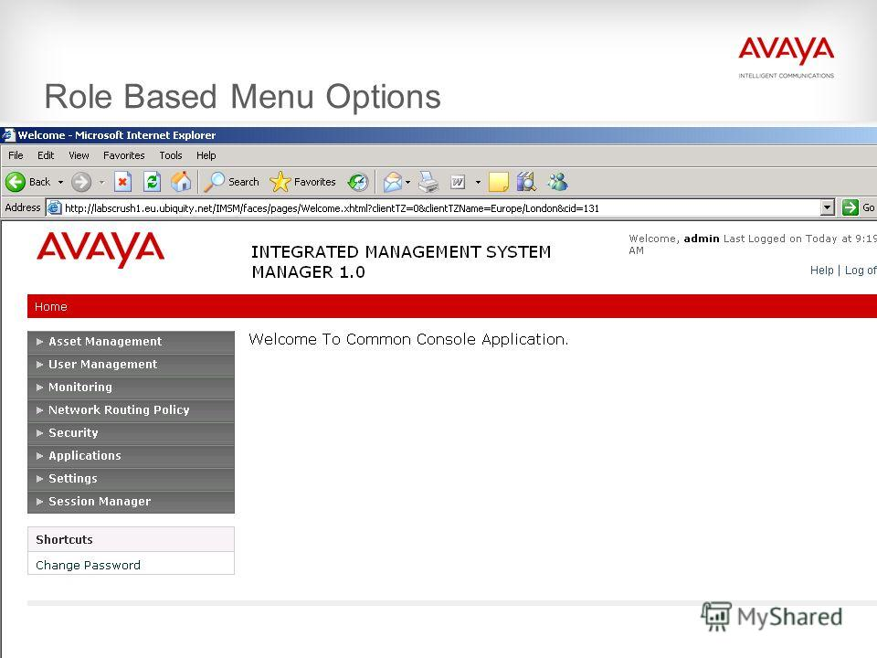 © 2009 Avaya Inc. All rights reserved. Role Based Menu Options
