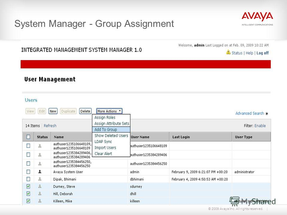 © 2009 Avaya Inc. All rights reserved. System Manager - Group Assignment