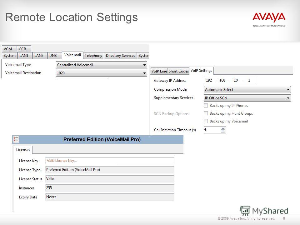 © 2009 Avaya Inc. All rights reserved. Remote Location Settings 8