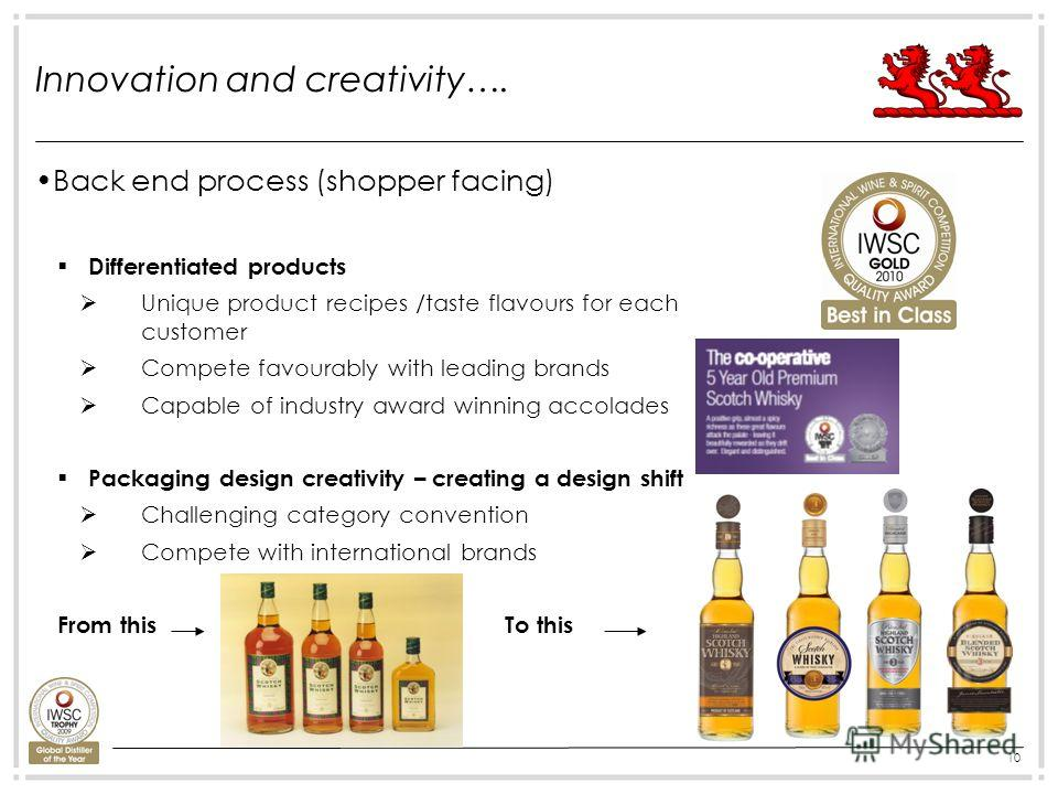 10 Innovation and creativity…. Back end process (shopper facing) Differentiated products Unique product recipes /taste flavours for each customer Compete favourably with leading brands Capable of industry award winning accolades Packaging design crea