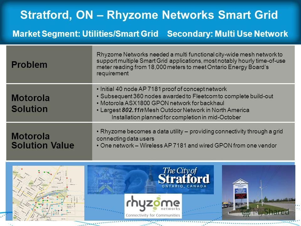 Stratford, ON – Rhyzome Networks Smart Grid Problem Motorola Solution Motorola Solution Value Rhyzome Networks needed a multi functional city-wide mesh network to support multiple Smart Grid applications, most notably hourly time-of-use meter reading