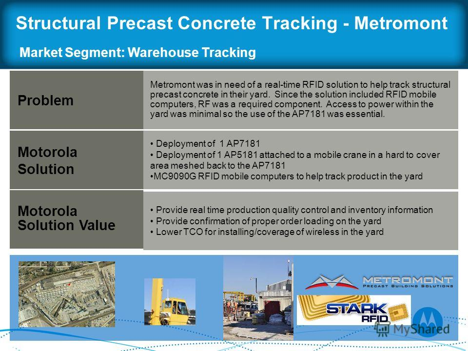 Structural Precast Concrete Tracking - Metromont Problem Motorola Solution Motorola Solution Value Metromont was in need of a real-time RFID solution to help track structural precast concrete in their yard. Since the solution included RFID mobile com