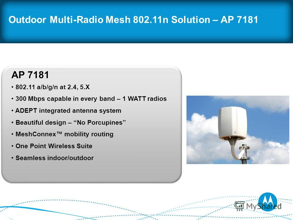 Outdoor Multi-Radio Mesh 802.11n Solution – AP 7181 AP 7181 802.11 a/b/g/n at 2.4, 5. X 300 Mbps capable in every band – 1 WATT radios ADEPT integrated antenna system Beautiful design – No Porcupines MeshConnex mobility routing One Point Wireless Sui