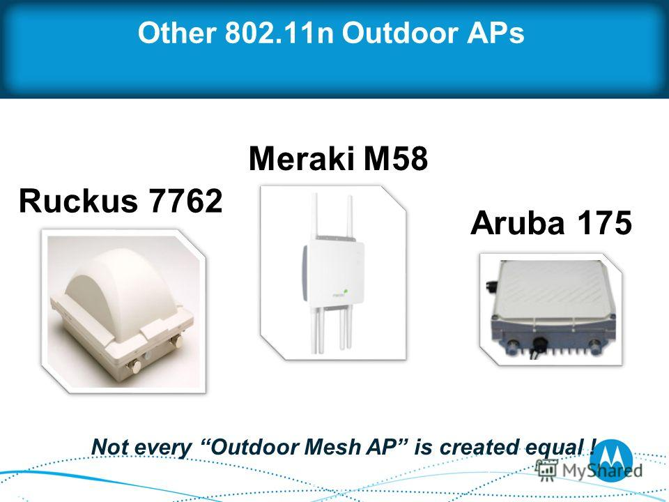 Other 802.11n Outdoor APs Ruckus 7762 Meraki M58 Aruba 175 Not every Outdoor Mesh AP is created equal !