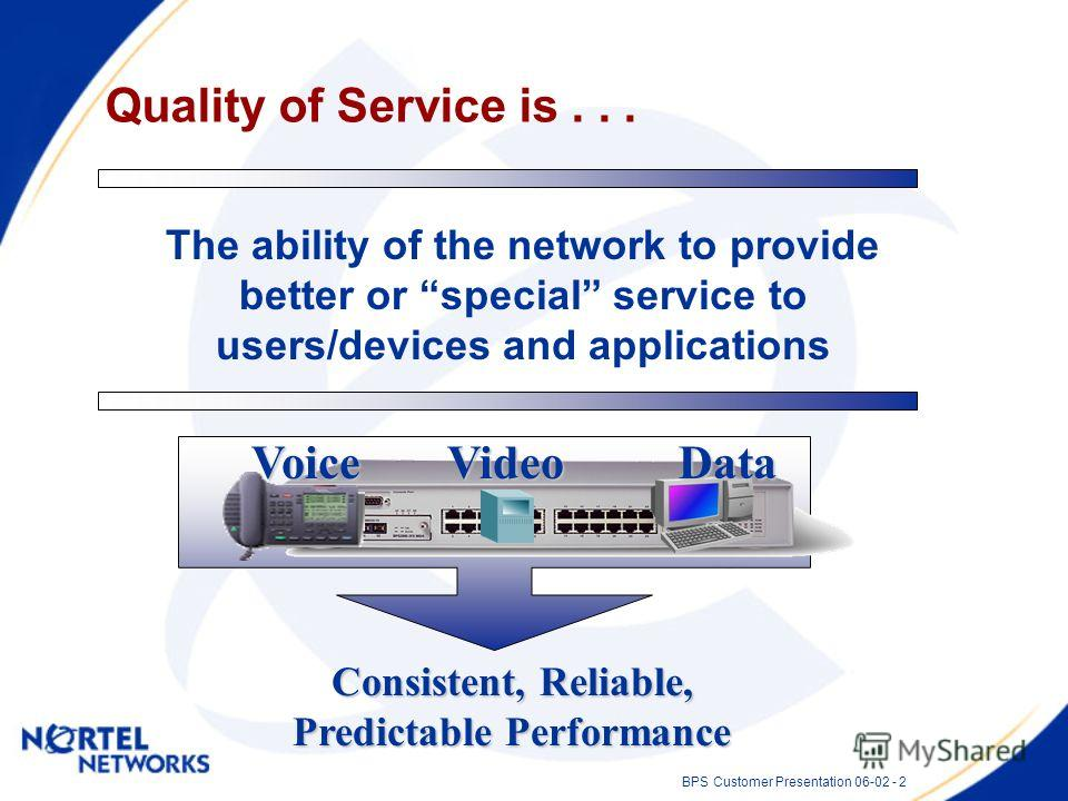 BPS Customer Presentation 06-02 - 2 The ability of the network to provide better or special service to users/devices and applications Quality of Service is... Consistent, Reliable, Predictable Performance VoiceVideoData