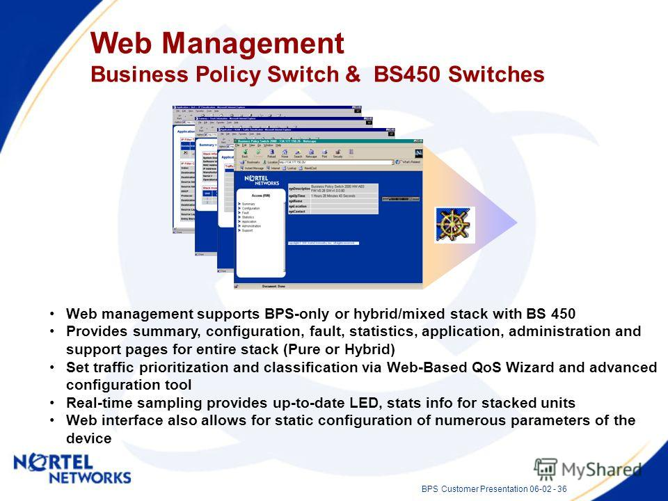 BPS Customer Presentation 06-02 - 36 Web Management Business Policy Switch & BS450 Switches Web management supports BPS-only or hybrid/mixed stack with BS 450 Provides summary, configuration, fault, statistics, application, administration and support