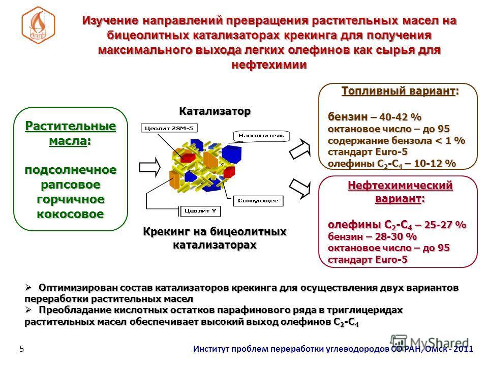 Изучение направлений превращения растительных масел на бицеолитных катализаторах крекинга для получения максимального выхода легких олефинов как сырья для нефтехимии Оптимизирован состав катализаторов крекинга для осуществления двух вариантов перераб