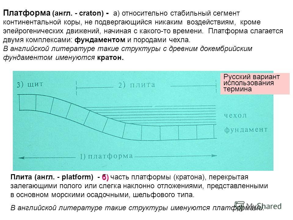 Платформа (англ. - craton) - а) относительно стабильный сегмент континентальной коры, не подвергающийся никаким воздействиям, кроме эпейрогенических движений, начиная с какого-то времени. Платформа слагается двумя комплексами: фундаментом и породами