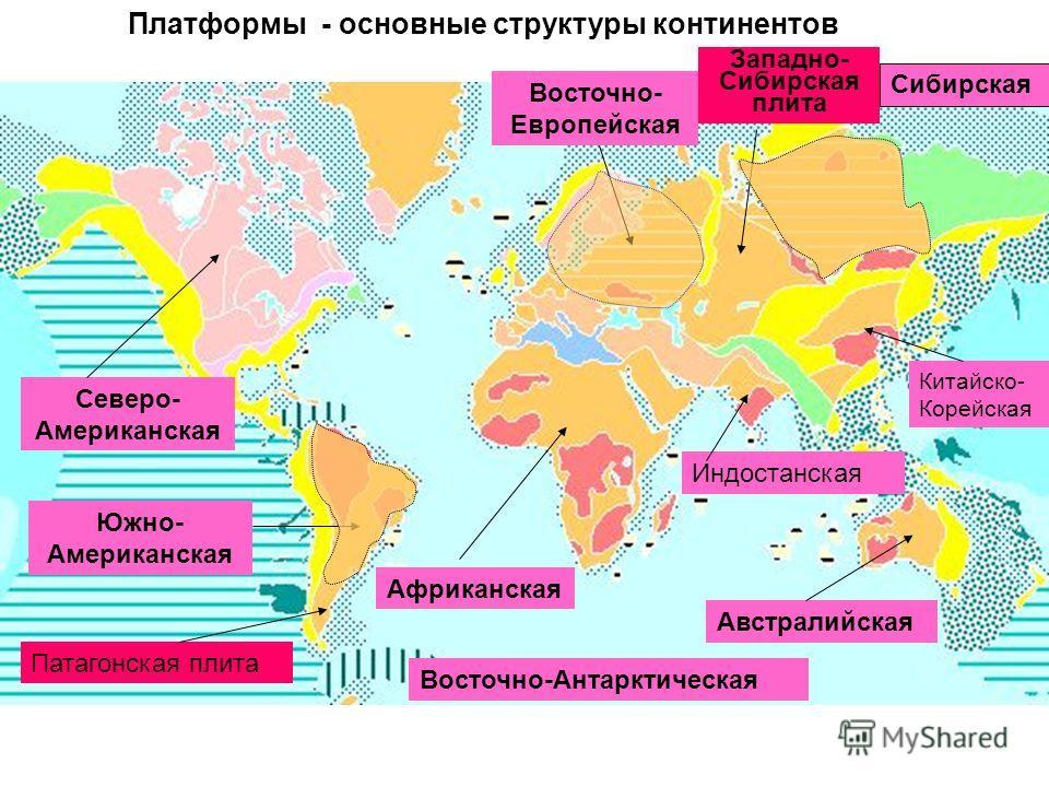 Платформы - основные структуры континентов Северо- Американская Южно- Американская Восточно- Европейская Западно- Сибирская плита Сибирская Австралийская Африканская Восточно-Антарктическая Китайско- Корейская Индостанская Патагонская плита