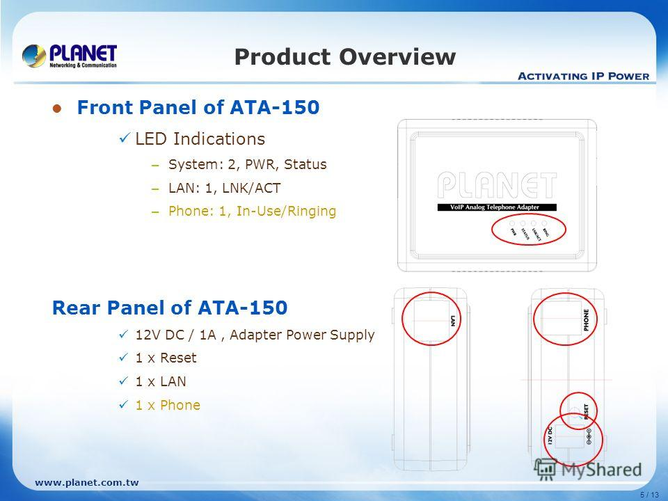 www.planet.com.tw 5 / 13 Product Overview Front Panel of ATA-150 LED Indications – System: 2, PWR, Status – LAN: 1, LNK/ACT – Phone: 1, In-Use/Ringing Rear Panel of ATA-150 12V DC / 1A, Adapter Power Supply 1 x Reset 1 x LAN 1 x Phone