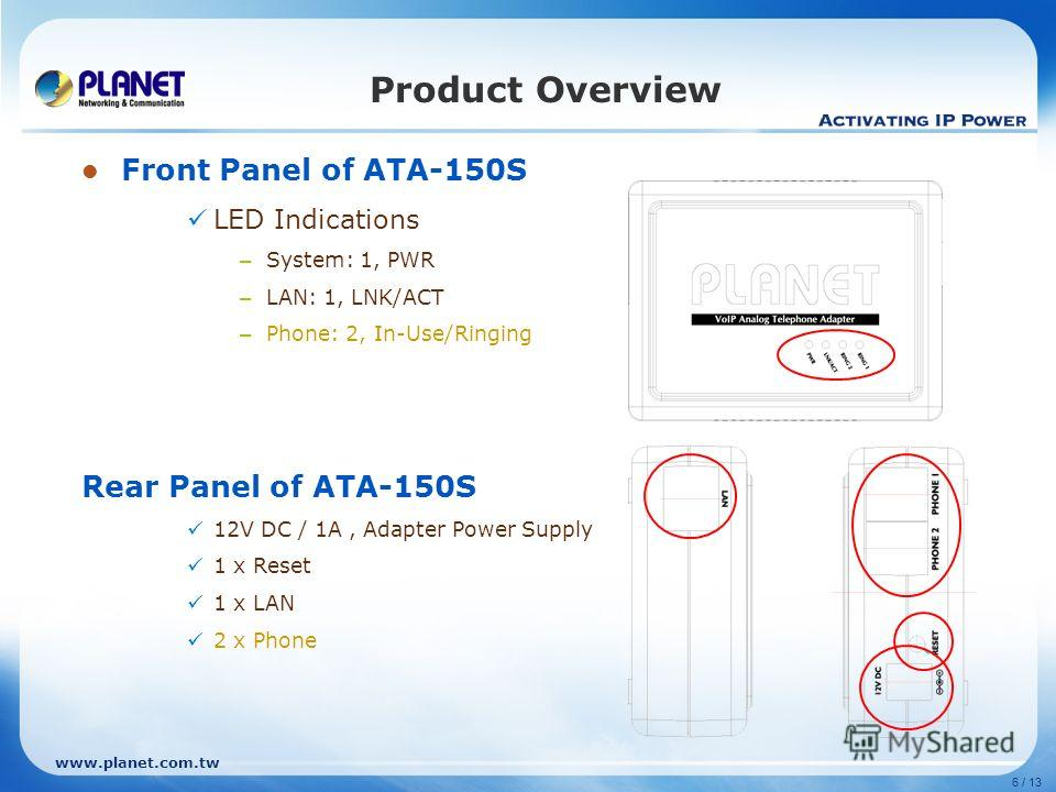 www.planet.com.tw 6 / 13 Product Overview Front Panel of ATA-150S LED Indications – System: 1, PWR – LAN: 1, LNK/ACT – Phone: 2, In-Use/Ringing Rear Panel of ATA-150S 12V DC / 1A, Adapter Power Supply 1 x Reset 1 x LAN 2 x Phone