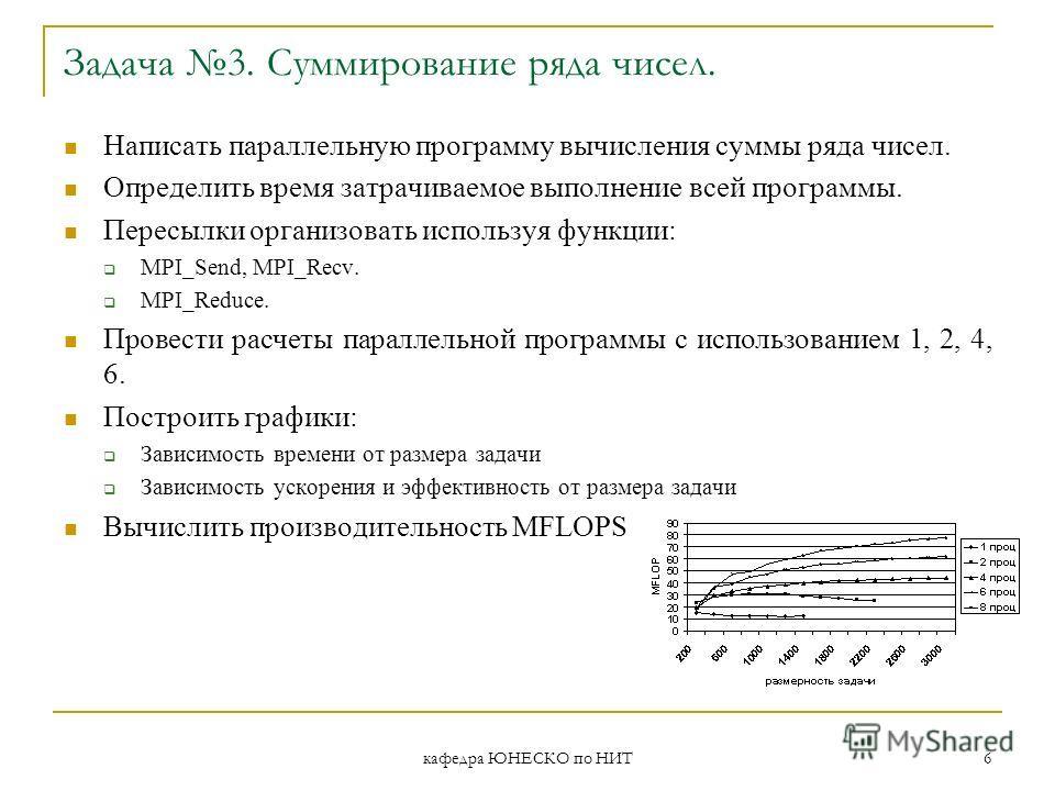 кафедра ЮНЕСКО по НИТ 6 Задача 3. Суммирование ряда чисел. Написать параллельную программу вычисления суммы ряда чисел. Определить время затрачиваемое выполнение всей программы. Пересылки организовать используя функции: MPI_Send, MPI_Recv. MPI_Reduce