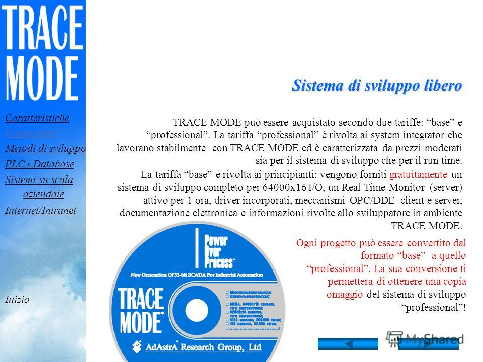 Il pacchetto di sviluppo TRACE MODE è utilizzato per tutti i tipi di applicazione. I progetti sviluppati con TRACE MODE girano su sistemi run-time,TRACE MODE girano su sistemi run-time TRACE MODE comprende il pacchetto di sviluppo e i moduli run-time