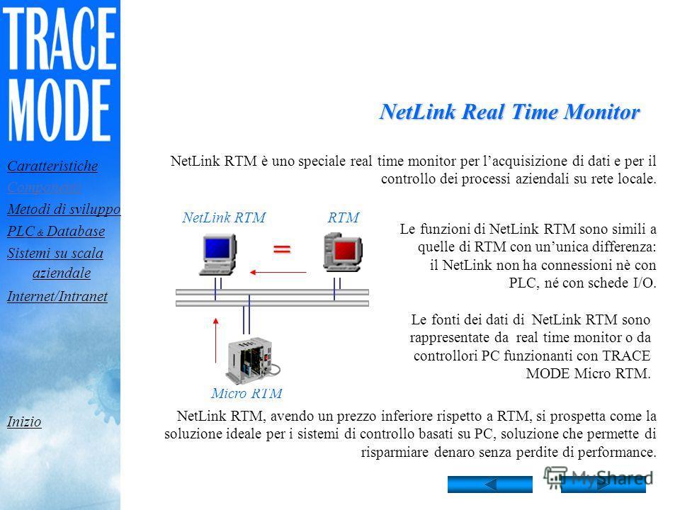RTM: Caratteristiche di acquisizione dati Rete Modem RS 232/485 TRACE MODE RTM può raccogliere dati attraverso le seguenti interfacce: Ponte Radio Fieldbus 32 porte seriali; Ogni porta può essere sintonizzata su un determinato protocollo di comunicaz