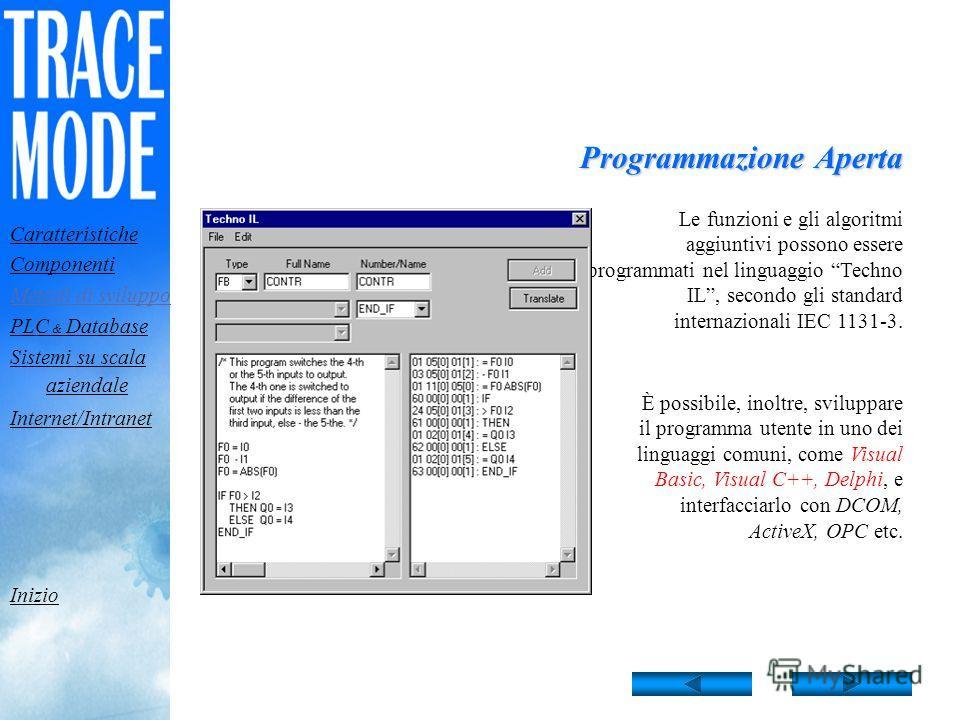 Sviluppo algoritmi TRACE MODE è dotato di un potente strumento per la progettazione e il debugging di algoritmi di controllo dei processi. Si usano linguaggi visuali conformi allo standard internazionale IEC 1131-3. Il linguaggio Techno FBD di TRACE