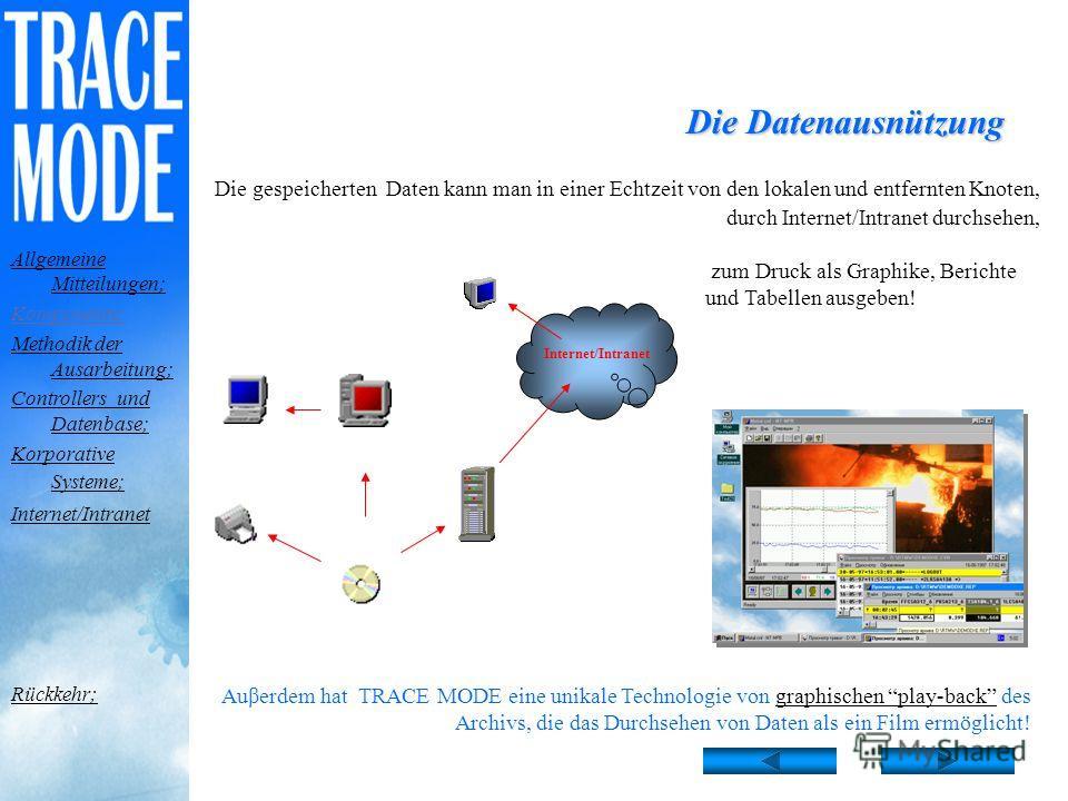 Das Datenarchivierungssystem Das mächtige Datenarchivierungssystem TRACE MODE versichert: 0,001 ein ununterbrochenes Anschreiben von allen Parametern des technologischen Prozesses mit Präzision bis zu 0,001 s; automatische Datenreservierung in den lo