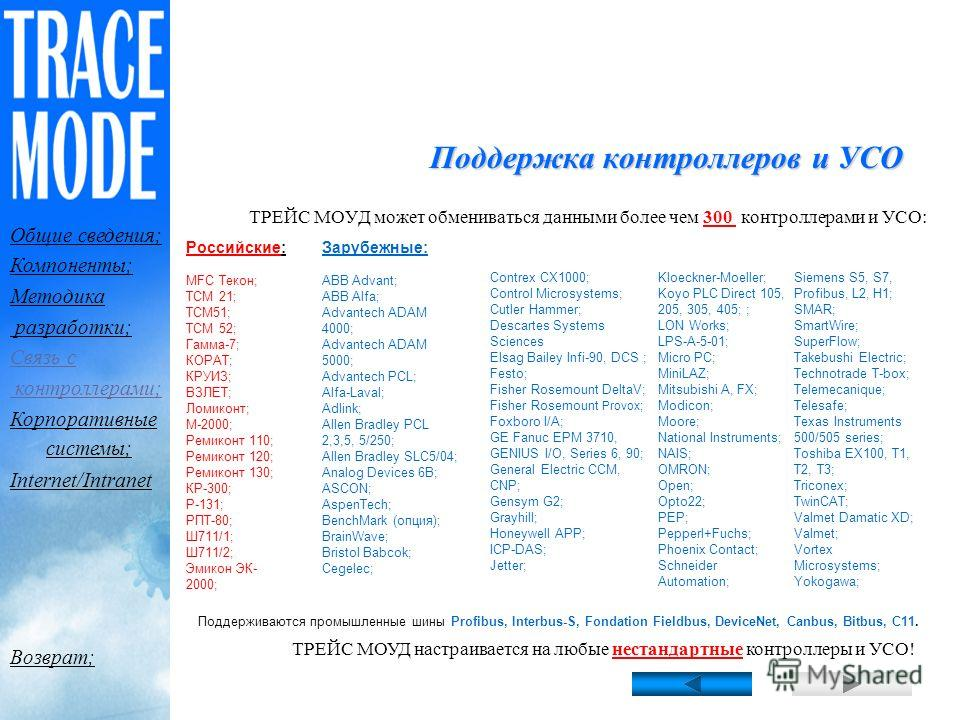 Коммуникационный интерфейс программы открыт, кроме того, поддерживаются OPC и DDE клиенты/серверы. Поэтому ТРЕЙС МОУД легко настроить на любые контроллеры, как российского, так и зарубежного производства. Данные из ТРЕЙС МОУД могут быть экспортирован