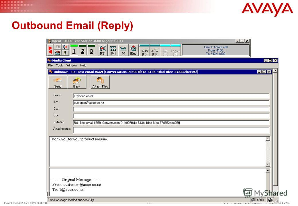 112 © 2006 Avaya Inc. All rights reserved. Avaya – Proprietary & Confidential. For Internal Use Only. Inbound Email - Suspend