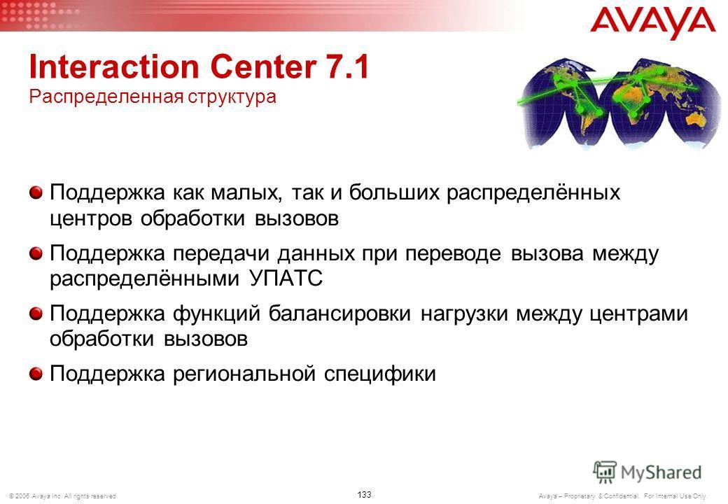 132 © 2006 Avaya Inc. All rights reserved. Avaya – Proprietary & Confidential. For Internal Use Only. Interaction Center 7.1 Гибкая и надежная архитектура Высокая масштабируемость Поддержка ОС Microsoft, Sun, IBM Поддержка СУБД Microsoft, Oracle, IBM