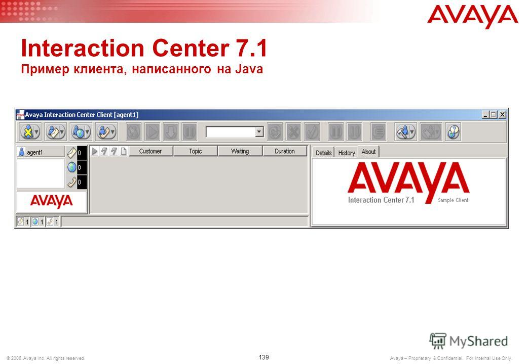 138 © 2006 Avaya Inc. All rights reserved. Avaya – Proprietary & Confidential. For Internal Use Only. Interaction Center 7.1 Пример клиента, написанного на Visual C#