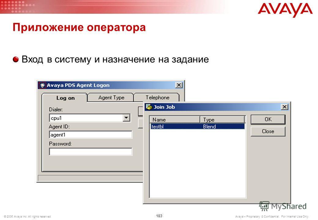 182 © 2006 Avaya Inc. All rights reserved. Avaya – Proprietary & Confidential. For Internal Use Only. Технологии смешанной работы Proactive Blending Оператор регистрируется в станции и в PC 3.0 PC 3.0 начинает распределять на оператора исходящие вызо