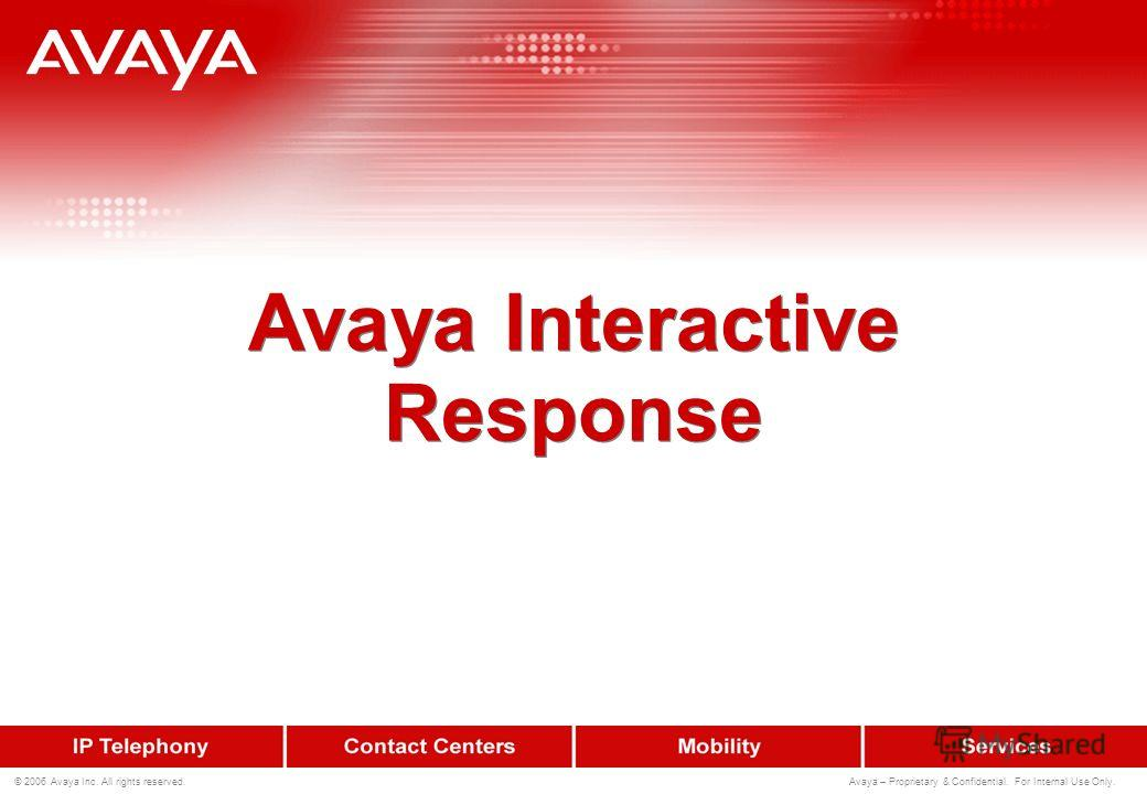 193 © 2006 Avaya Inc. All rights reserved. Avaya – Proprietary & Confidential. For Internal Use Only. Портфолио Self Service-систем Avaya Платформы Avaya Interactive Response –Направлен на традиционный рынок IVR- систем Подключение по TDM Нераспредел
