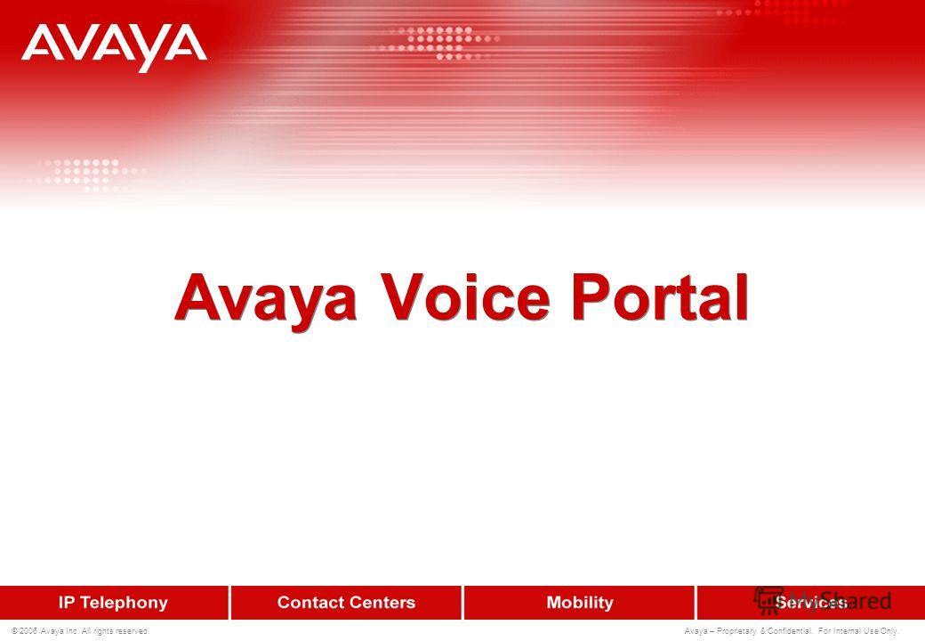 200 © 2006 Avaya Inc. All rights reserved. Avaya – Proprietary & Confidential. For Internal Use Only. Открытость для разработки приложений Поддержка приложений VoiceXML 2.0 –Открытый, документированный индустриальный стандарт –Возможность многоплатфо