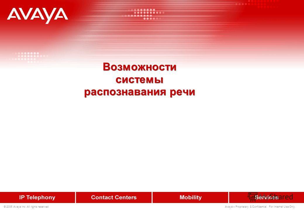 223 © 2006 Avaya Inc. All rights reserved. Avaya – Proprietary & Confidential. For Internal Use Only. Исправление ошибок Пример Система : «...для соединения с сотрудником, произнесите его фамилию...» Клиент : «Путин» Система : Путин – 70% Пудин – 20%