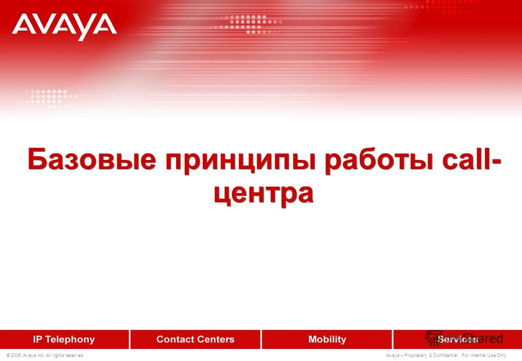 © 2006 Avaya Inc. All rights reserved. Avaya – Proprietary & Confidential. For Internal Use Only. Вопросы ?