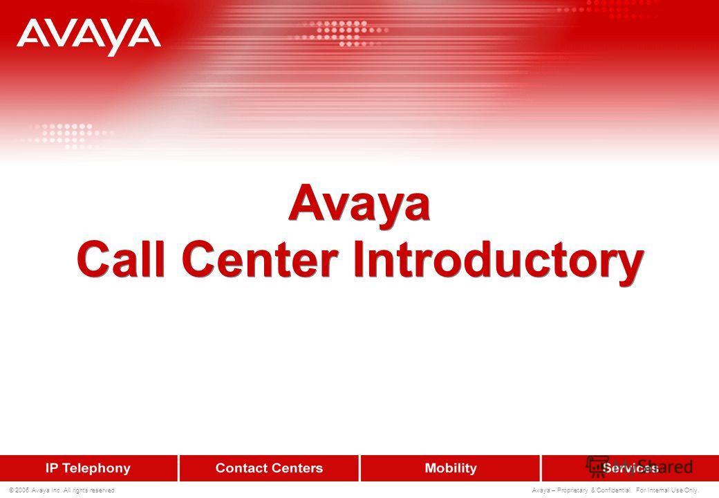 © 2006 Avaya Inc. All rights reserved. Avaya – Proprietary & Confidential. For Internal Use Only. Алгоритмы работы call-центров Avaya