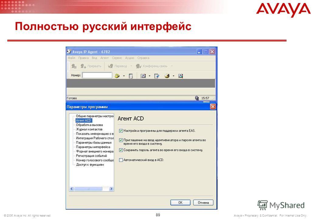 88 © 2006 Avaya Inc. All rights reserved. Avaya – Proprietary & Confidential. For Internal Use Only. Полностью русский интерфейс