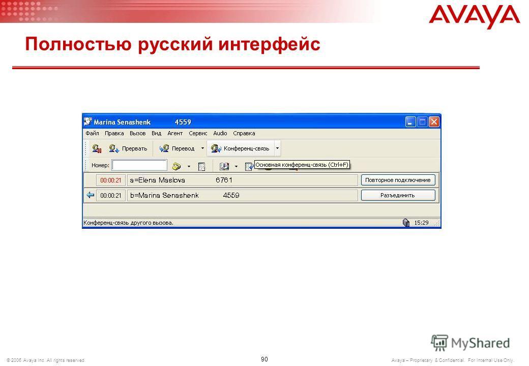 89 © 2006 Avaya Inc. All rights reserved. Avaya – Proprietary & Confidential. For Internal Use Only. Полностью русский интерфейс
