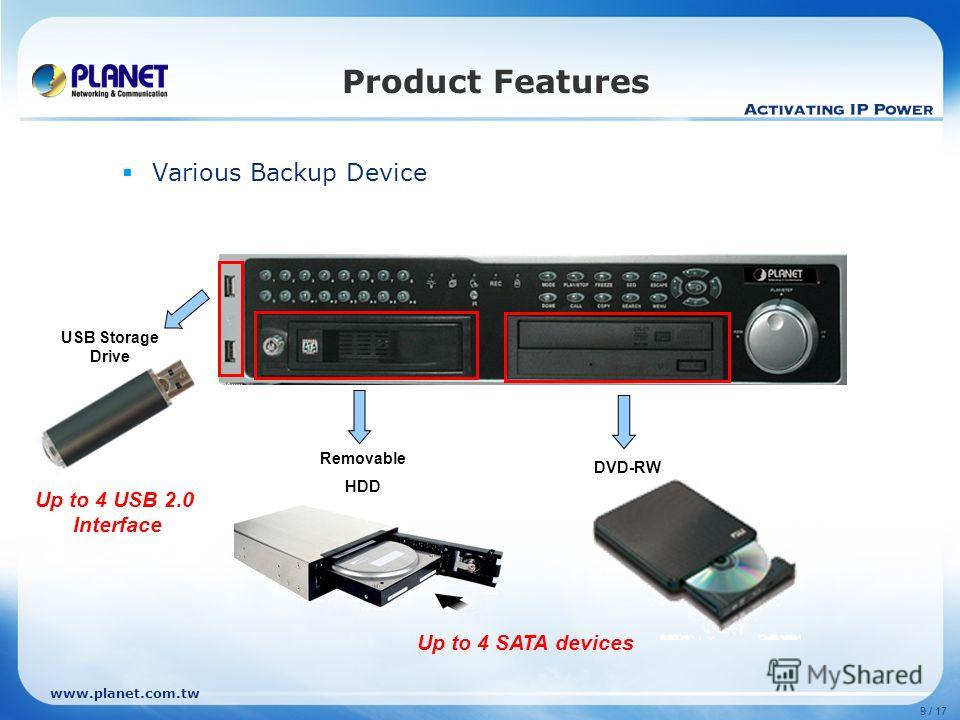 www.planet.com.tw 9 / 17 Product Features Various Backup Device Removable HDD DVD-RW USB Storage Drive Up to 4 SATA devices Up to 4 USB 2.0 Interface